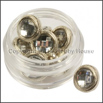 The Hobby House Fancy Buttons - Patterned Silver Rhinestone