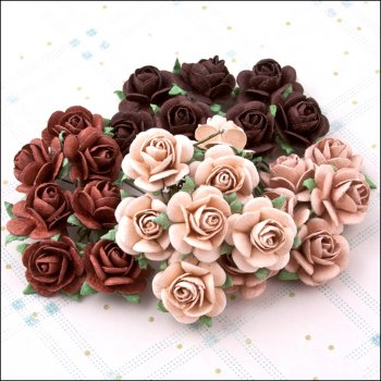 The Hobby House Mulberry Paper Roses - Chocolate Heaven medium