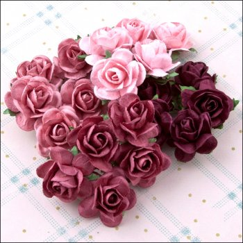 The Hobby House Mulberry Paper Roses - Raspberry Truffle large