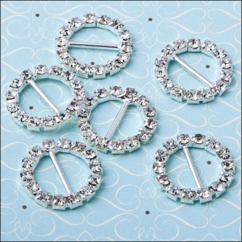 The Hobby House Diamante Ribbon Buckle - Large Circle
