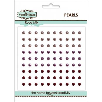 The Hobby House Self Adhesive Pearls - 3mm Ruby Mix