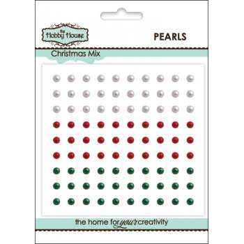 The Hobby House Self Adhesive Pearls - 3mm Christmas Mix SLIGHT SECONDS