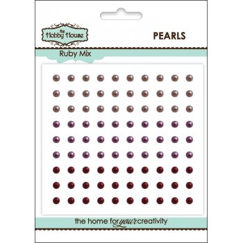 The Hobby House Self Adhesive Pearls - 3mm Ruby Mix (slight seconds)