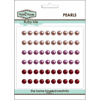 The Hobby House Self Adhesive Pearls - 5mm Ruby Mix