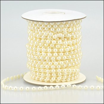 The Hobby House Pearl Strings - Round Pearl 6mm - 3 metres