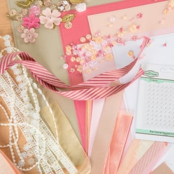 The Hobby House Peach Raspberry Embellishment Collection