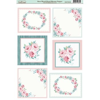 The Hobby House Rose Wood Floral Blooms Topper SLIGHT SECONDS