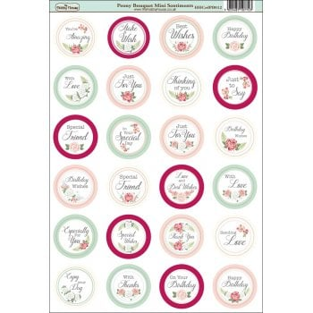 The Hobby House Peony Bouquet Die-Cut Mini Circle Sentiments SLIGHT SECONDS