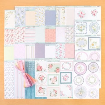 The Hobby House Floral Patterned Card and matching topper sheets with Organza Ribbons and Self Adhesive Pearls
