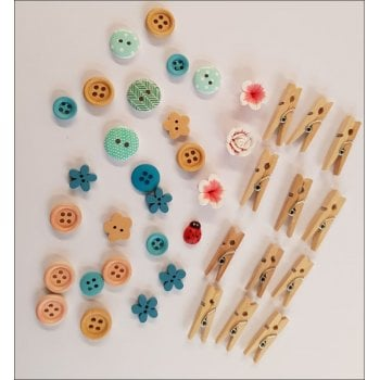 The Hobby House Daisy Chain - Flowers, Buttons and Mini Peg pack