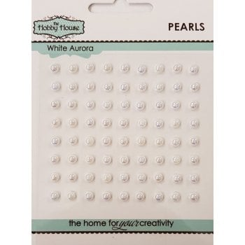 The Hobby House Self Adhesive Pearls - 4mm White Aurora SLIGHT SECONDS