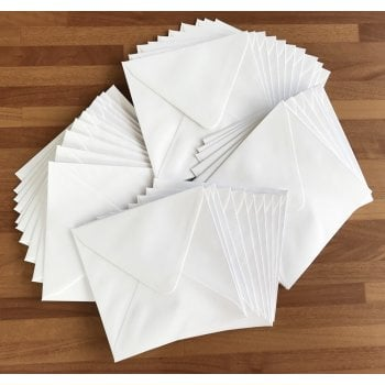 130mm White Diamond Flap Envelope 100gsm Pack of 40 (UK Delivery Only)