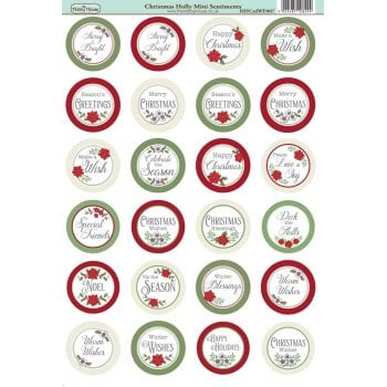 The Hobby House Christmas Holly Die-Cut Mini Circle Sentiments Slight Seconds