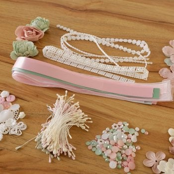 The Hobby House Mint Pink Embellishment Pack