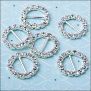 Diamante Ribbon Buckle - Medium Circle