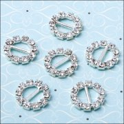 Diamante Ribbon Buckle - Small Circle
