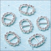 Diamante Ribbon Buckle - Small Oval