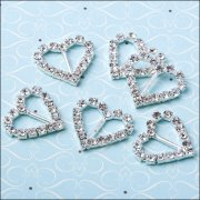 Diamante Ribbon Buckle - Large Heart