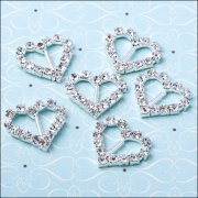 Diamante Ribbon Buckle - Small Heart