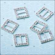 Diamante Ribbon Buckle - Large Square
