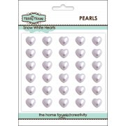 Self Adhesive Wedding Inspiration - 8mm Snow White Pearl Hearts SLIGHT SECONDS