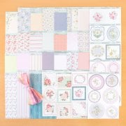 Floral Patterned Card and matching topper sheets with Organza Ribbons and Self Adhesive Pearls