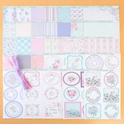 Summer Blossom Patterned Card and matching topper sheets with Organza Ribbons and Self Adhesive Pearls